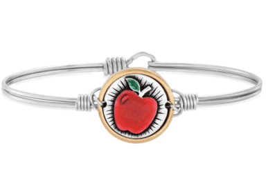 Red apple bangle bracelet in silver