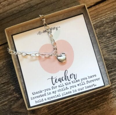 Silver chain bracelet for teachers with apple charm in box