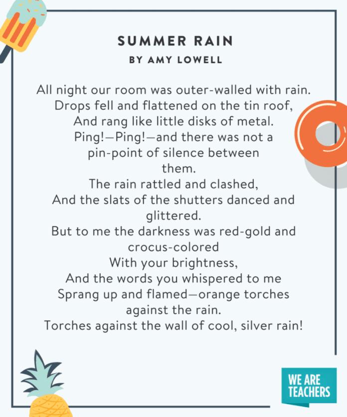 Summer Rain - summer poems for kids