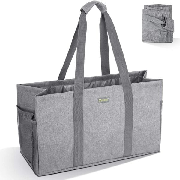 Gray collapsible tote bag with side pockets and long handles (Best Teacher Bags)