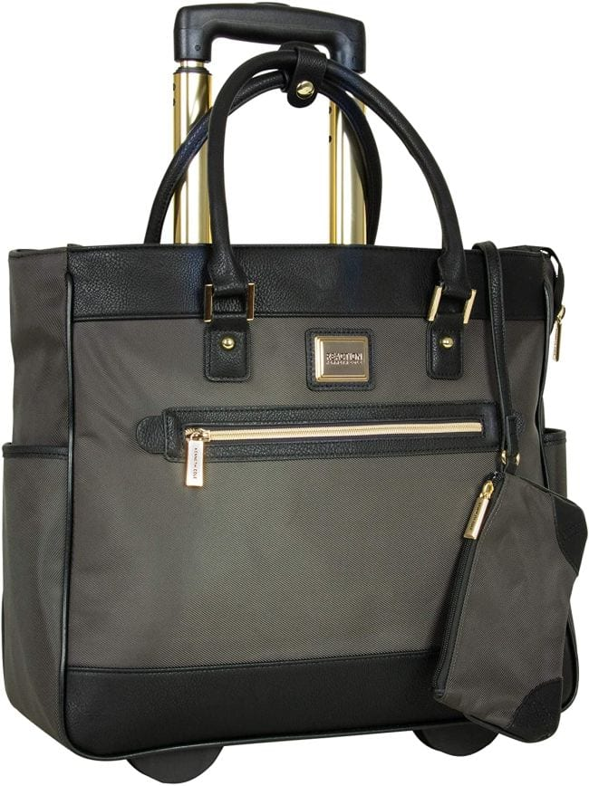 Wheeled tote back with front zipper pocket, top straps, and extendable handle (Best Teacher Bags)