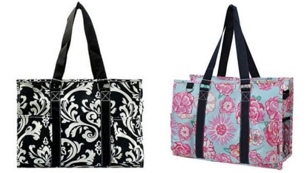 Simple boxy tote bags with long black handles in two different patterns (Best Teacher Bags)