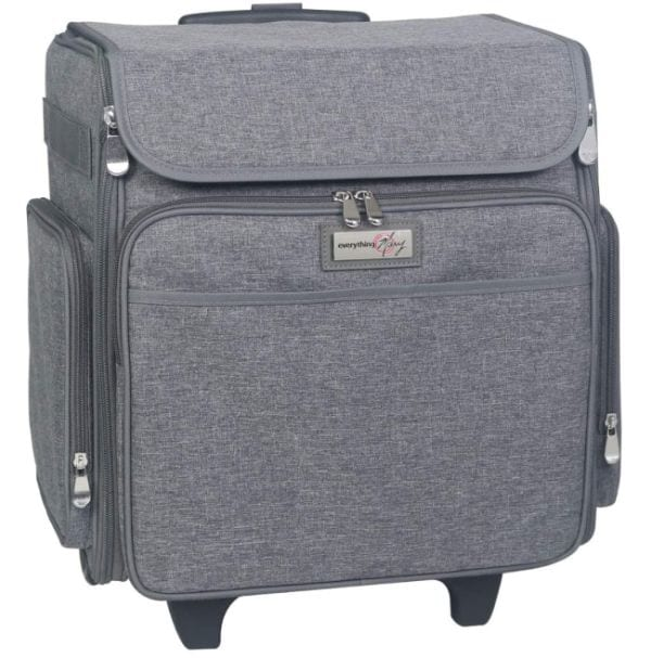 Gray rolling case with external zipper pockets and extendable handle