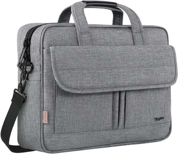 Gray fabric briefcase with a front flap pocket and top handles (Best Teacher Bags)