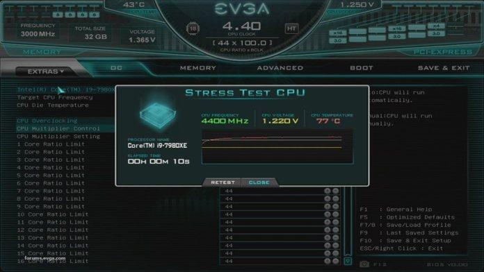 EVGA X299 DARK CPU Stress Test