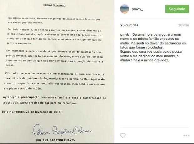 Poliana Chaves, mulher de Victor, faz post sobre suposta agressão do cantor (Foto: Reprodução/Instagram)