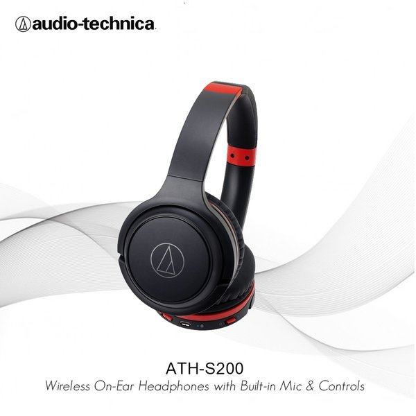 Audio-Technica ATH-S200BT Wireless Over-Ear Headphones - Black Red