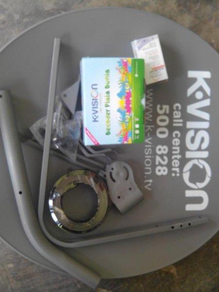 Antena Parabola . Receiver K-vision Ku Band Cartenz K1100 Full Set .Dish. LNB. Receiver. Tiang dan Lainnya.