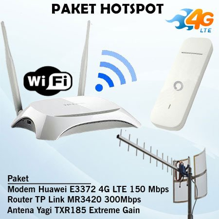 Paket Hotspot Router Tp Link Mr3420 300mbps & Modem Huawei E3372 4g Lte & Antena Yagi Grid Txr185