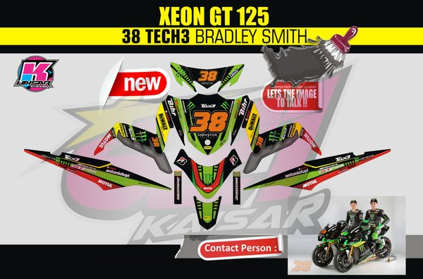 Sticker Striping Motor Stiker Yamaha XEON GT 125 EAGLE EYES Qlty.A  Design#17