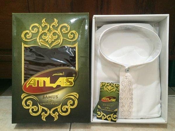 Promo Baju Muslim Koko Pria - ATASAN MURAH Baju Koko Atlas Bamus Universal Warna Putih Ukuran L