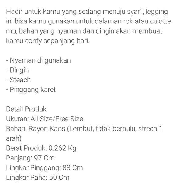 Legging Wudhu Bahan Rayon Kaos - Broken White Warna Putih Tulang