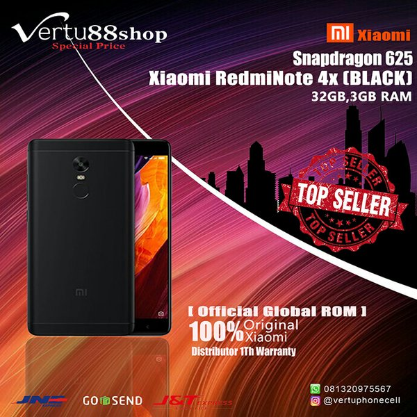Xiaomi Redmi Note 4X Black RAM3 - 32GB 4G Global Distributor