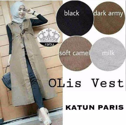 Model Baju Atasan Terbaru Muslim V32 Blazer Wanita Panjang Modern Katun Paris Busana Rompi Tunik Cantik Fashion Hijab Long Cardigan Vest Terkini Murah
