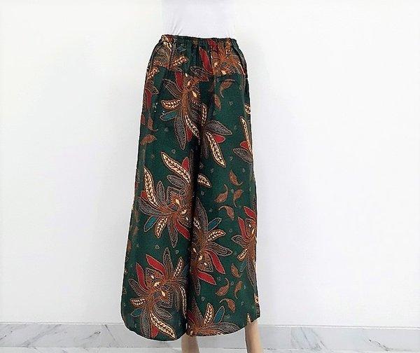 Celana Batik Kulot Panjang Motif Daun