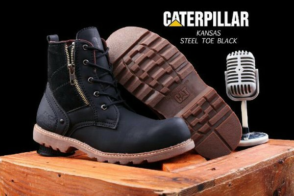 SEPATU BOOTS CATERPILLAR KANSAS HITAM ORIGINAL BOOTS SAFETY