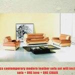 New 3pc Contemporary Modern Leather Sofa Set Am 209 B Camel Ivory