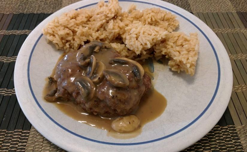 Salisbury steak with beef-broth white rice