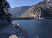 Hetch Hetchy Reservervoir and the back of the O'Shaughnessy Dam