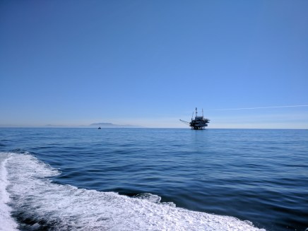 An oil derrick on the way to Santa Cruz Island