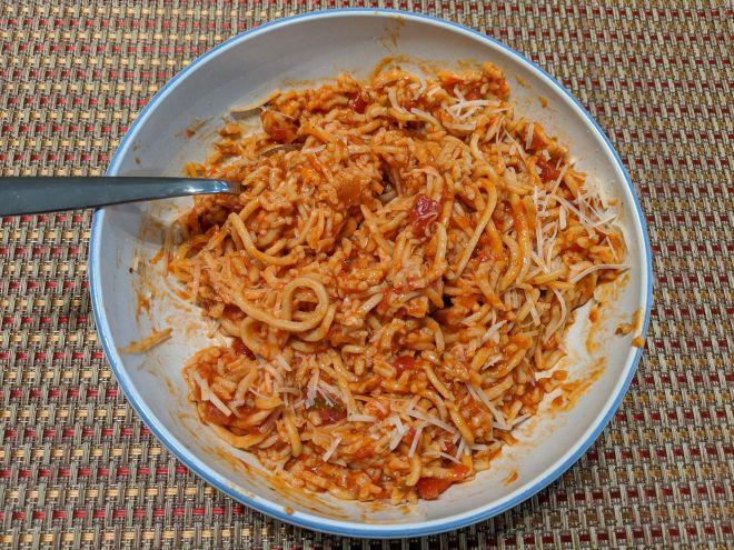 Homemade, gluten-free spaghetti in a fiery red sauce