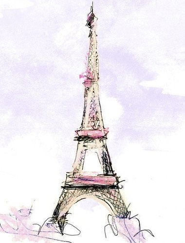 art, paris, pink, sketch