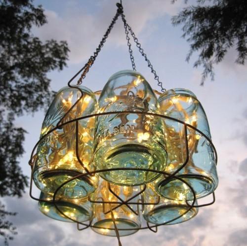 Chandelier Fairy Lights Hanging Jars Jar