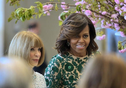 Anna Wintour and Michelle Obama at a dedication ceremony for the Anna Wintour Costume Center