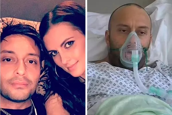 Marcus Birks and his wife Lis (left) and the singer at the hospital (Photo: facebook reproduction)