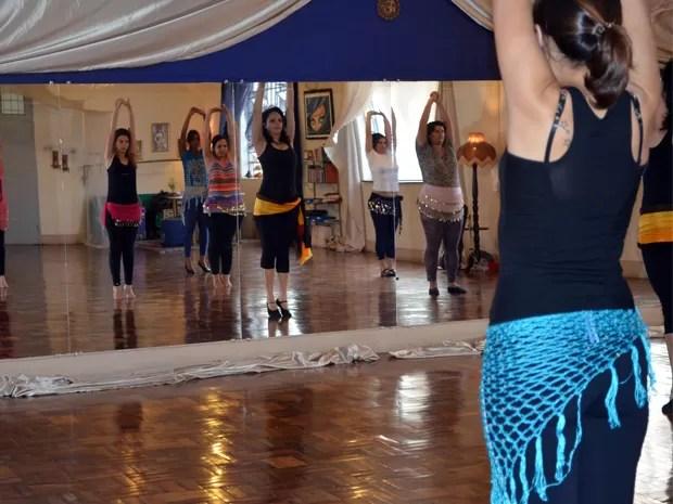 Alunas na academia da Ellen Hanna em Varginha. (Foto: Samantha Silva / G1)
