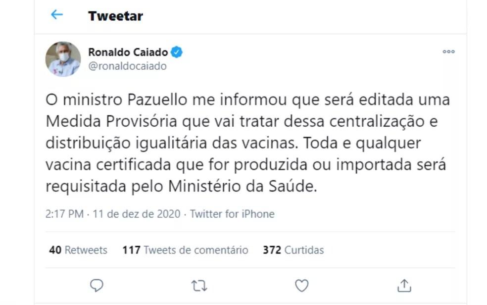 Publicação do governador de Goiás Ronaldo Caiado (DEM) após visita de Eduardo Pazuello a Goiânia — Foto: Reprodução/Twitter