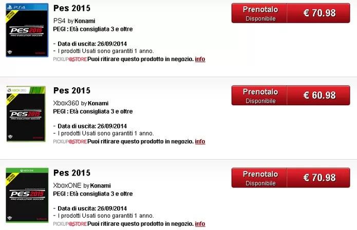 PES 2015 aparece lista na loja GameStop da Italia para PlayStation 4 e Xbox One (Foto: Reprodução)