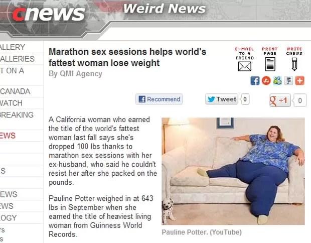 Reportagem relata o caso da mulher que diz que perdeu 50 quilos graças a maratona de sexo (Foto: Reprodução)