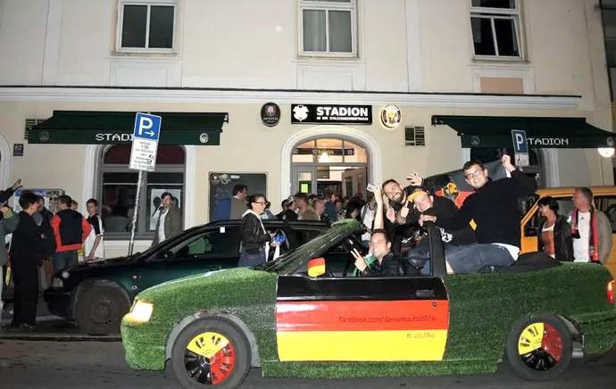 torcida da Alemanha jogo Copa em Munique (Foto: Cassio Barco)