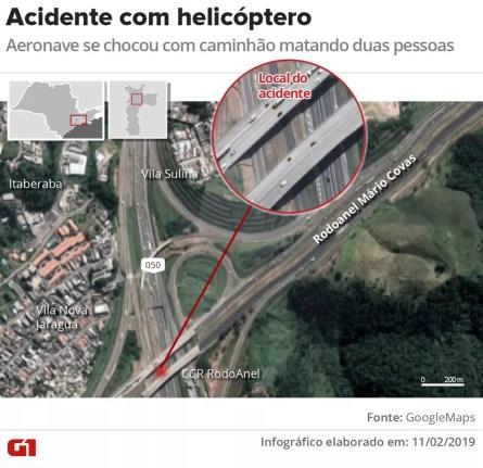 Mapa mostra local onde helicóptero caiu na Rodovia Anhanguera — Foto: Wagner Magalhães/G1