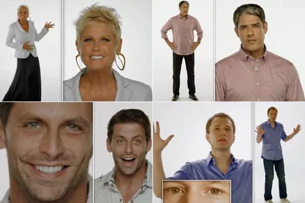 Xuxa, William Bonner, Henri Castelli e Tiago Leifert são algumas das estrelas da campanha Vem Aí (Foto: Rede Globo)