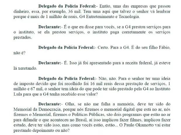 Trecho do depoimento do ex-presidente Luiz Inácio Lula da Silva (Foto: Reprodução)