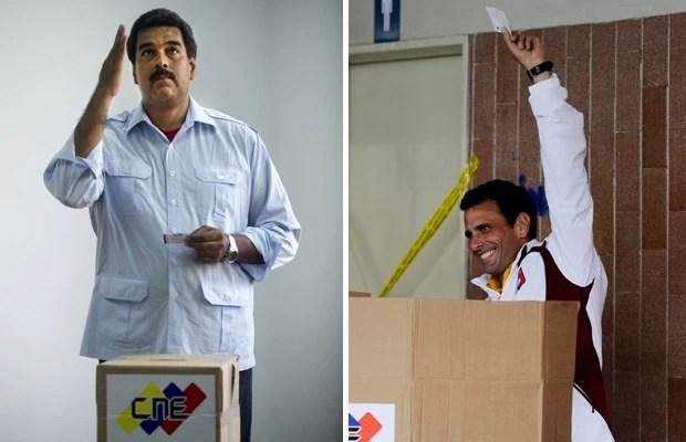 À esquerda, candidato Nicolás Maduro, herdeiro político de Chávez; à direita, candidato Henrique Capriles, de oposição (Foto: Raul Arboleda/Ronaldo Schemidt/AFP)