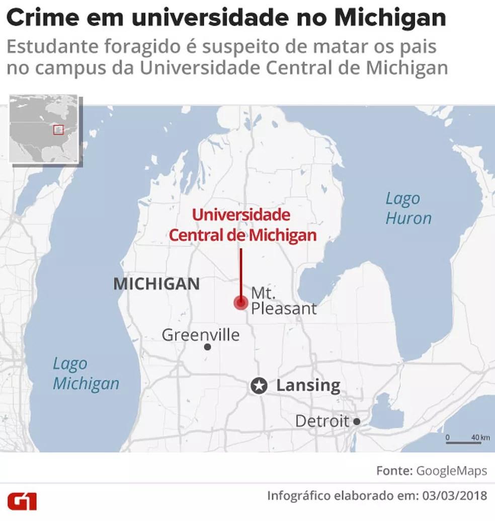 Onde fica a Universidade de Michigan (Foto: Arte G1)