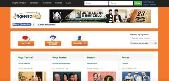O site IngressoMais é bem simples de comprar e possui uma variedade de programas (Reprodução/ Gabriella Fiszman)