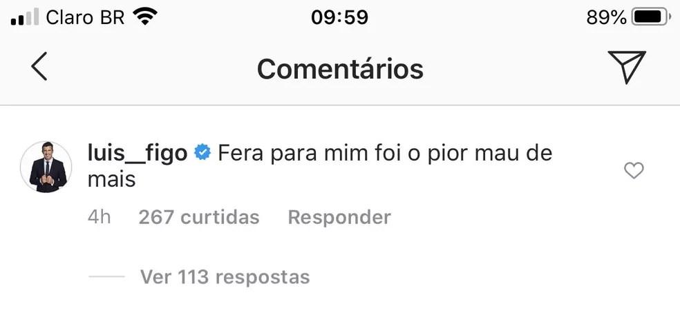 Luis Figo cornetou Luxemburgo, do Palmeiras, nas redes sociais — Foto: Reprodução