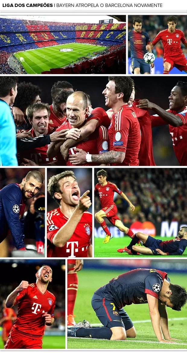 Mosaico jogo Barcelona Bayern Liga 2 (Foto: Editoria de Arte)