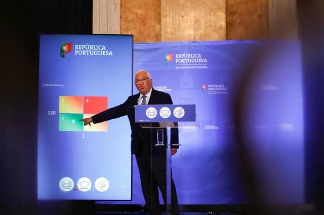Premiê António Costa anuncia plano português de flexibilização do lockdown em Lisboa — Foto: Reuters/Pedro Nunes