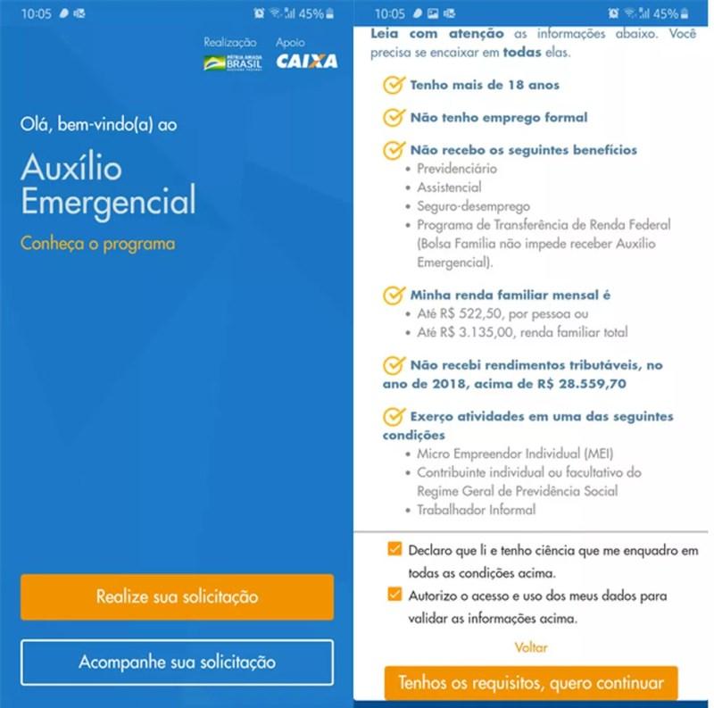 O primeiro acesso ao app lista os critérios para ter o auxílio emergencial — Foto: Reprodução/TechTudo