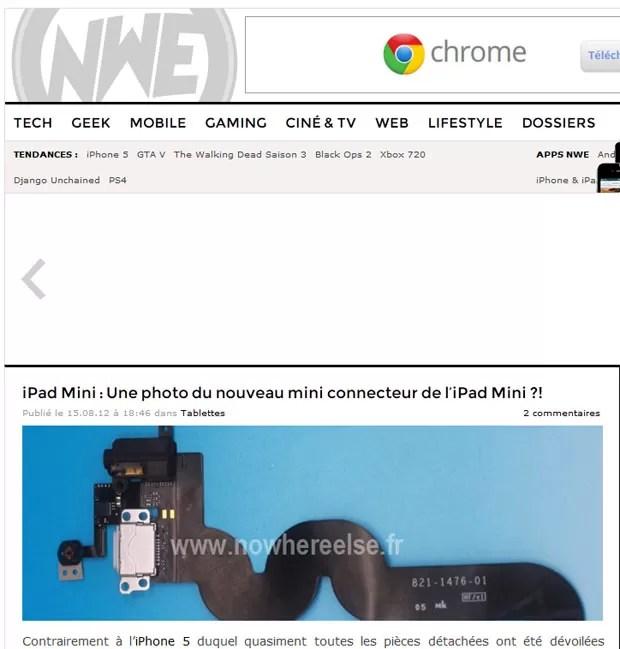 Suposta imagem do dock menor para o novo iPhone vaza na internet (Foto: Reprodução)