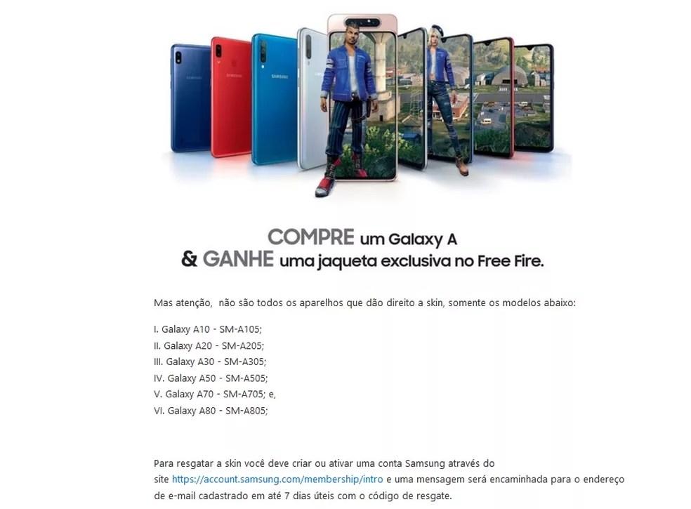 São seis modelos de celulares da série Galaxy A que podem resgatar a skin promocional — Foto: Reprodução/Carlos Palmeira