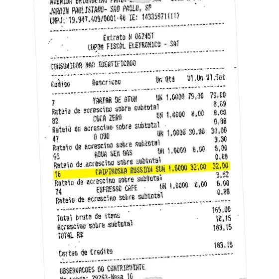 Nota fiscal de caipirinha comprada pelo deputado Arthur Maia. Gasto foi reembolsado pela Câmara. (Foto: Reprodução )