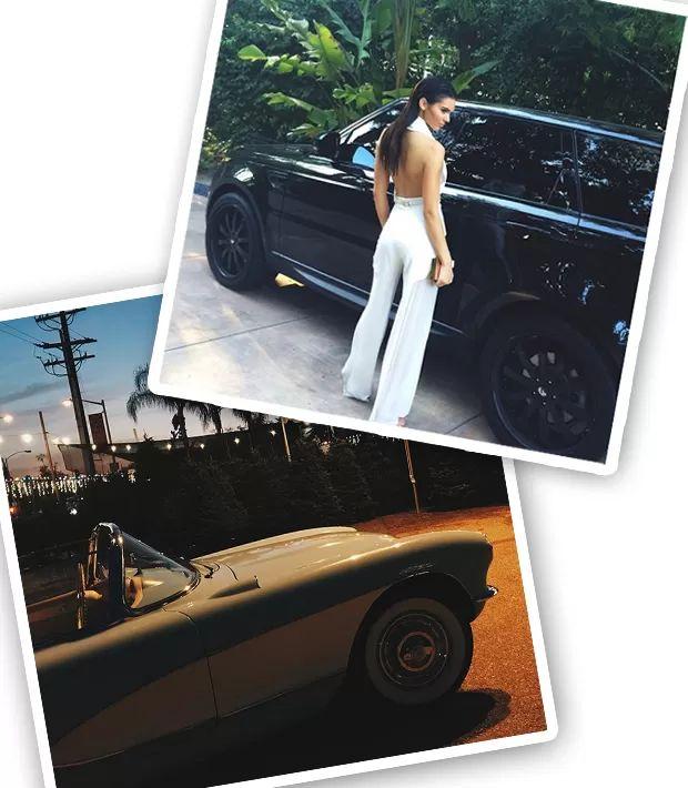 Kendall Jenner com dois de seus quatro carros (Foto: Instagram/Reprodução)