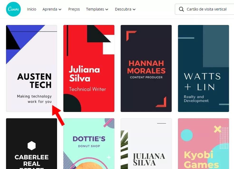 Editor Canva tem vários templates prontos — Foto: Reprodução/Rodrigo Fernandes