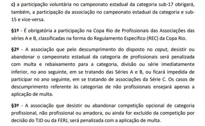 Regulamento geral de competições da Ferj prevê pena severa em caso de abandono — Foto: Reprodução